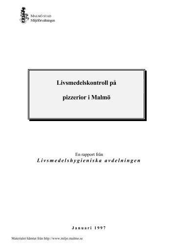 Livsmedelskontroll på pizzerior i Malmö.pdf - Malmö stad