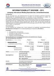informationsblatt iws/swm – 2013 - Schweißtechnische Zentralanstalt