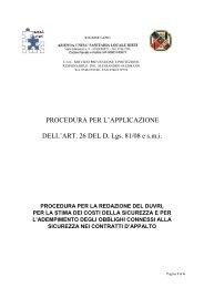 PROCEDURA PER L'APPLICAZIONE DELL'ART. 26 DEL D. Lgs. 81 ...