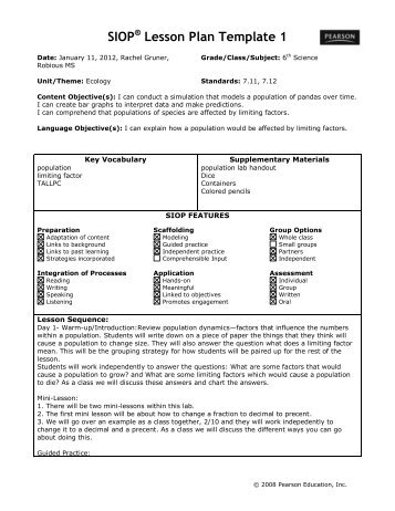 SIOP® Lesson Plan Template 1   ACT ESL
