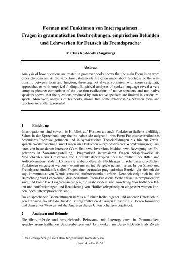 Formen und Funktionen von Interrogationen ... - Linguistik online