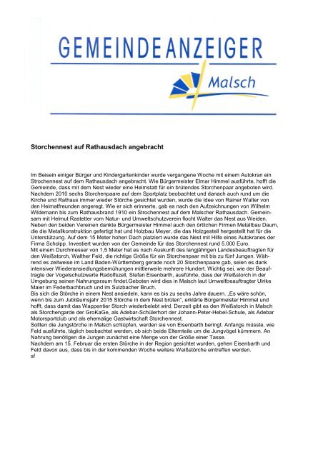 A mtsblatt - Gemeinde Malsch