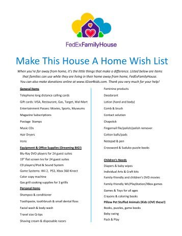 The ideal situation would for Home wish list