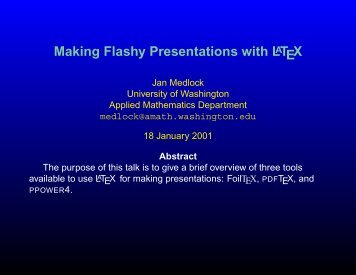 Making Flashy Presentations with LaTeX
