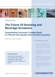 The Future Of Snacking and Beverage Occasions - Datamonitor