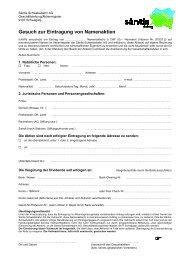Gesuch zur Eintragung von Namenaktien - Säntis