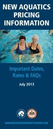 New Aquatics Pricing Information - Reston Community Center