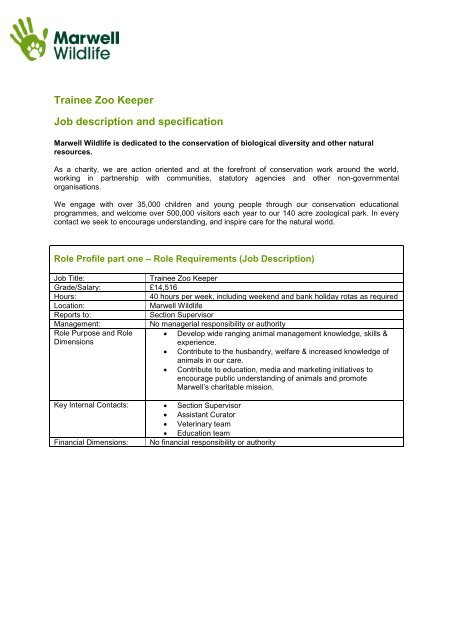Trainee Zoo Keeper Job Description And Specification