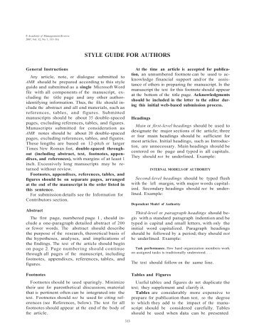 academy of management journal style guide Click for academy of management home page faq | contact us | placement & careers | volunteer | renew your membership sign.