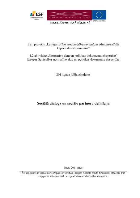 Sociālā dialoga un sociālo partneru definīcija - Latvijas Brīvo ...
