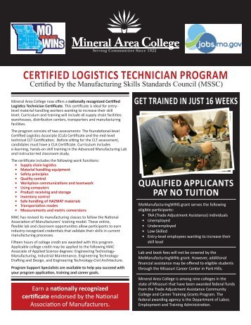 certified logistics technician program - Mineral Area College