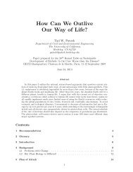 How Can We Outlive Our Way of Life? - Tadeusz (Tad) Patzek