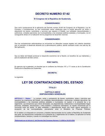 Decreto 57-92 Ley de Contrataciones del Estado y Sus ...