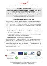 GTPF Stakeholder Workshop Summary - BioNET