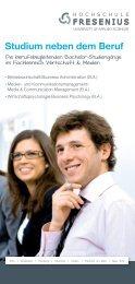 Berufsbegleitende Studiengänge - Hochschule Fresenius