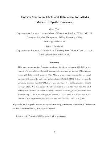 Gaussian Maximum Likelihood Estimation For ARMA ... - LSE Statistics