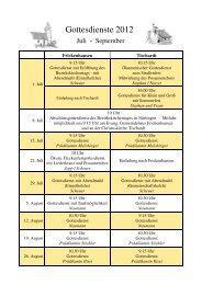 Gottesdienstplan 2012 - 3. Quartal