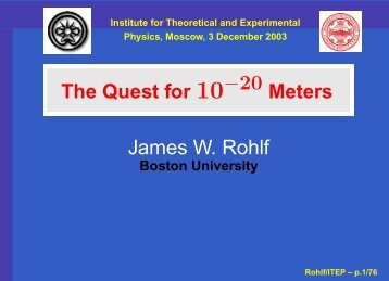 James W. Rohlf - Boston University Physics Department.