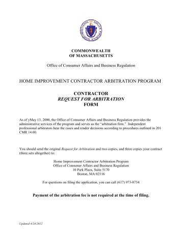 contractor request for arbitration form - Mass.Gov