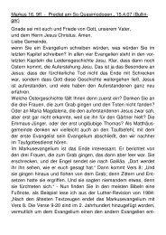 Markus 16, 9ff - Predigt am So.Quasimodogen., 15.4.07 (Bullin- ger ...