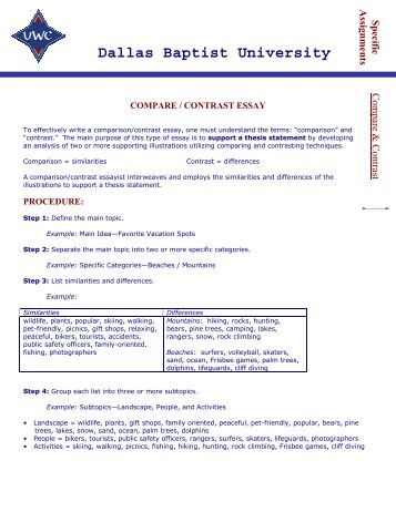 Compare and contrast essay universities