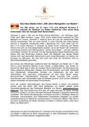 """Das Haus Baden feiert """"900 Jahre Markgrafen von Baden""""!"""