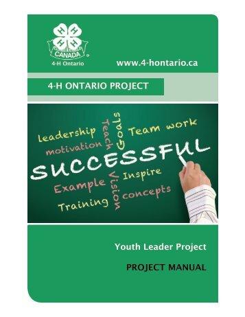 Youth Leader Manual - 4-H Ontario