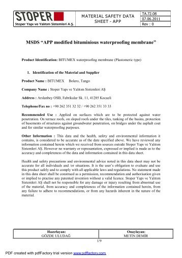 APP Modified Membranes - Bitumex.com.tr