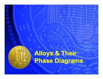 Alloys & Their Phase Diagrams Alloys & Their Phase Diagrams
