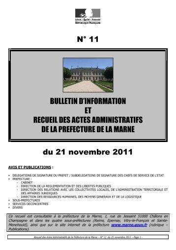 Recueil 11-2011 du 21 novembre (p1 à 80) - Préfecture de la Marne