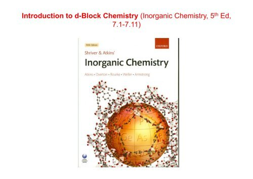 Introduction to d-Block Chemistry - Wits Structural Chemistry