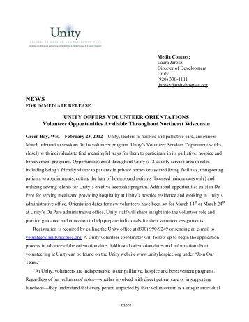 UNITY OFFERS VOLUNTEER ORIENTATIONS Volunteer ...