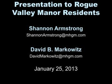 Slideshow - Rogue Valley Manor Resident Communications