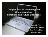 Couples Use of Technology for Communication: Functions and ...
