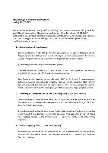 Mitteilung der Utimaco Safeware AG nach § 30c WpHG Wir teilen ...