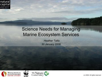 Science Needs for Managing Marine Ecosystem Services