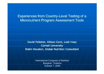 Experiences from Country-Level Testing of a Micronutrient Program ...
