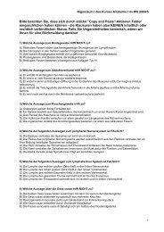 Klausur zum Kursus Anatomie I WS 2004/2005