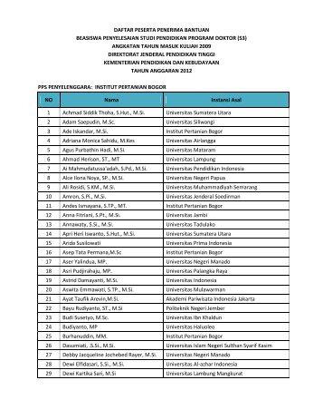 daftar peserta penerima bantuan beasiswa penyelesaian studi ...