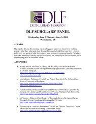 DLF SCHOLARS' PANEL - Digital Library Federation