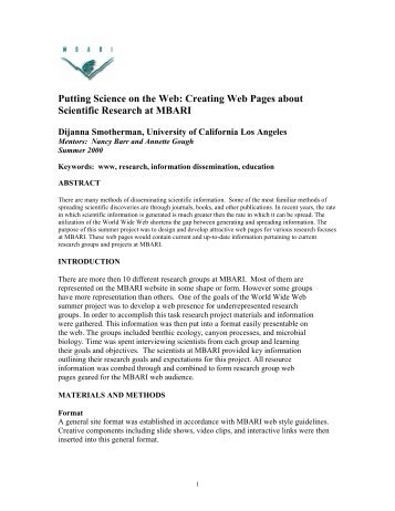 Putting Science on the Web: Creating Web Pages about Scientific ...