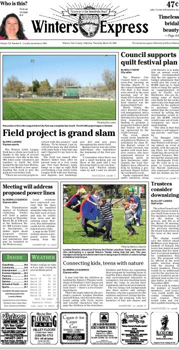 Field project is grand slam - Winters Express