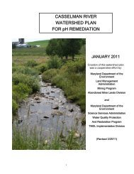 watershed plan for the casselman river watershed, maryland