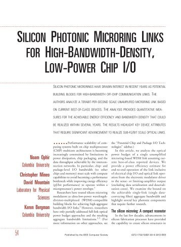 silicon photonic microring links for high-bandwidth-density, low ...