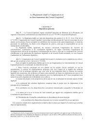 Le Reglement relatif a l'organisation et au fonctionnement du ...