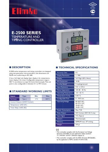 E-2500 Series Temperature and Timing Controller - Elimko