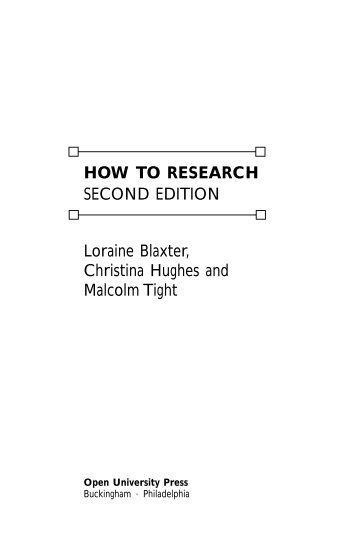 HOW TO RESEARCH SECOND EDITION Loraine ... - McGraw-Hill