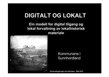 Prosjektet Digitalt og lokalt