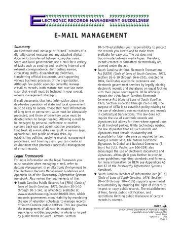 E-MAIL MANAGEMENT - Records Management