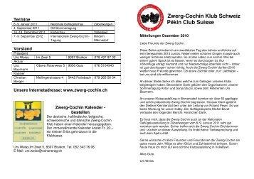 2010 Dezember Mitteilungen - Zwerg-Cochin Klub Schweiz